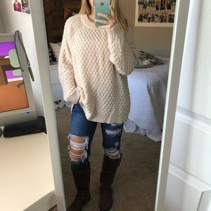 Oversized Light Blush Pink 💗 Crew Neck Sweater